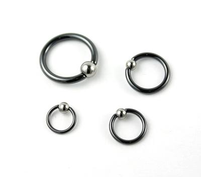 Captive Bead Ring In Black Niobium With Titanium Bead 10g