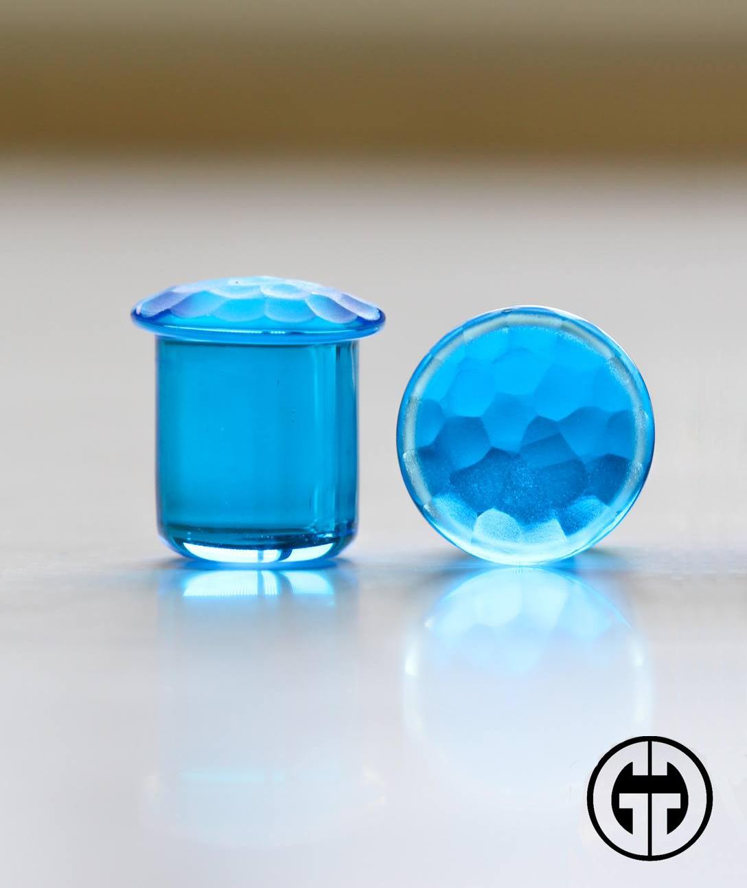 Pair of Honey Glass Single Flared Simple Plugs