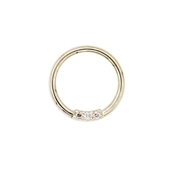 Fixed 3 Gem Ring In 14k White Gold With Genuine Diamonds 18g 5 16