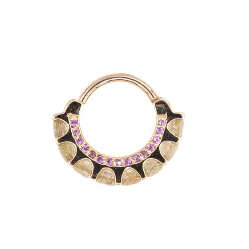 Gemmed barbell with opal and tri-bezel CZ in rose gold, 12g 9/16″
